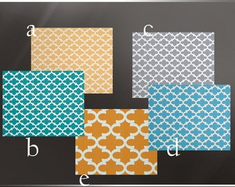 Blue Curtain Panels 25'' x 84'' Pair Lined Quatrefoil in Yellow Orange Grey Teal or  Blue