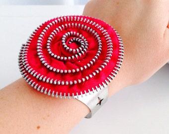 Hot Pink Zipper Flower Cuff Bracelet