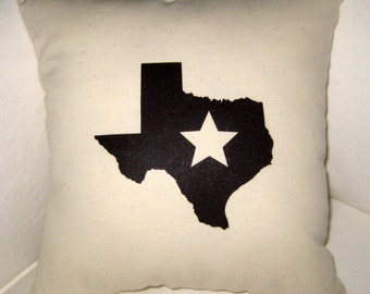 Texas Star Country Pillow, Shabby Chic Neutral Americana Cushion, Country Home Decor, Americana French Farmhouse Pillow, Texan State