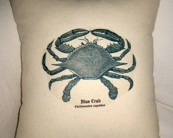 French Blue Crab Beach Cottage Pillow, Ocean Inspired Cushion, French Country, Beach House, Sea Life, Neutral Home Decor