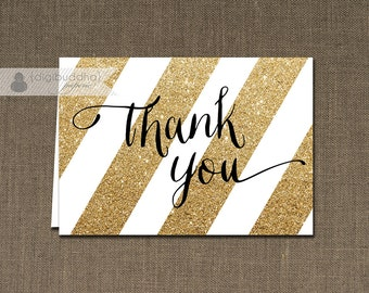 Black & Gold Glitter Stripe Thank You Card Gold INSTANT DOWNLOAD Folded Note Card Notecard Blank Inside Digital or Printed - Stella Style