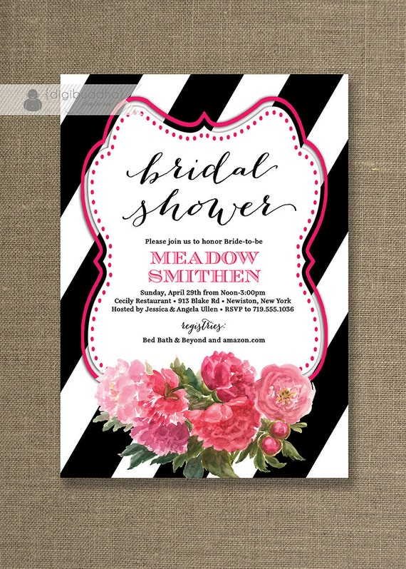 Black White & Roses Bridal Shower Invitation Pink Flowers Black ...
