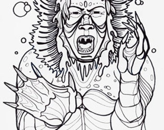 kaijin, asian folklore, cryptid, cryptozoology,  horror art, coloring book page