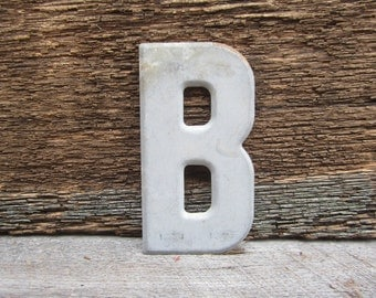 Vintage Letter Sign Metal Letter B Sign Gray Antique Chippy Rusted Old Marquee Metal Letter Rusty Wall Art Number Art Alphabet Signs Old