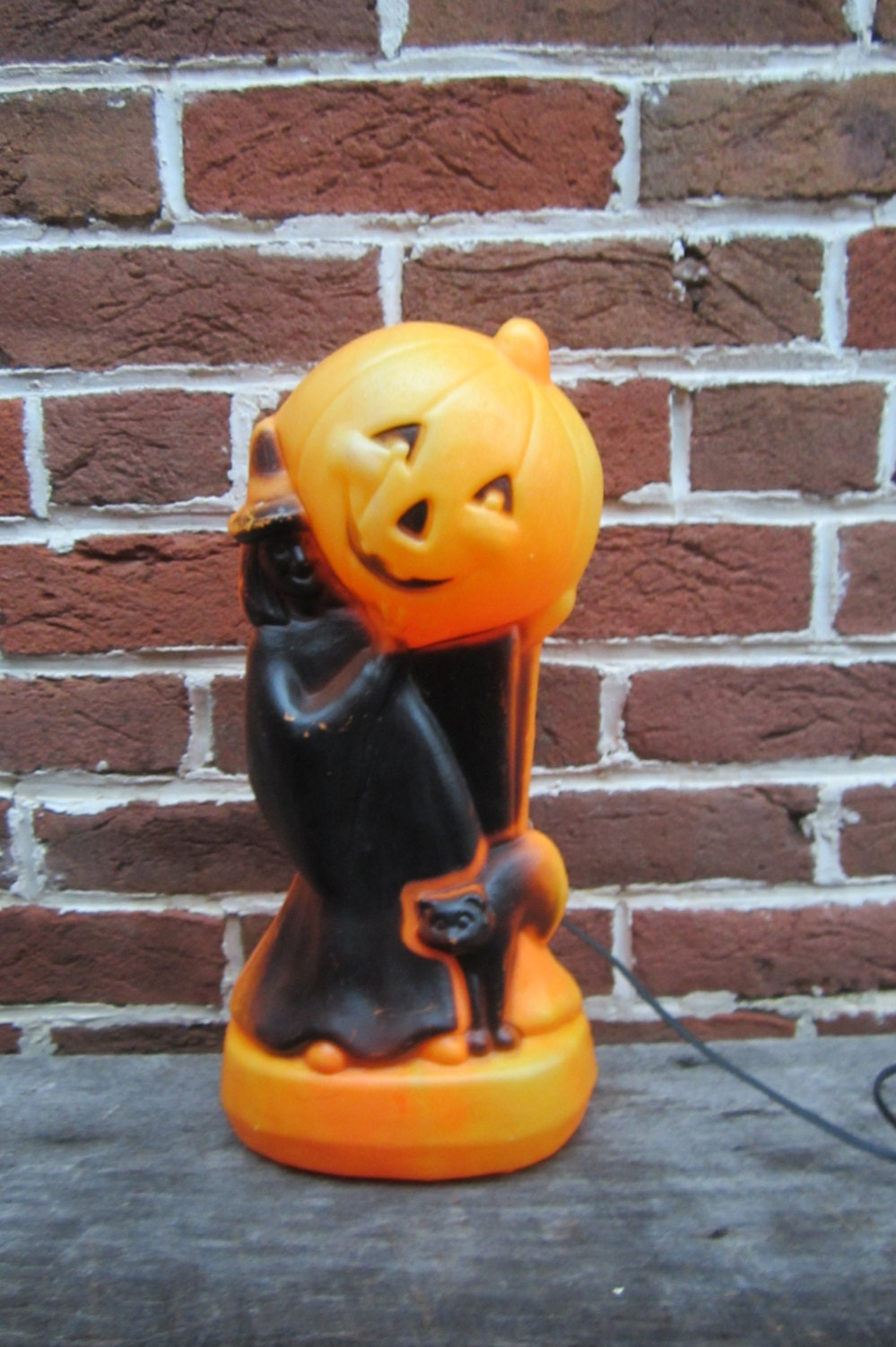 Vintage Plastic Blow Mold Halloween Witch Pumpkin And Black