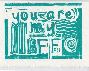 card, greeting, BFF, linocut, deckled edge