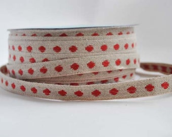 LINEN and red dot ribbon, 1m (1.1yard)