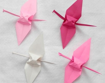 Origami Cranes - 100 Small - 3 Pink Colors and White Origami Paper Cranes