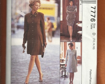McCall's 7776 Princess Seam Coat Dress with Strong Shoulders Jacket & Skirt Sizes 12-14-16 UNCUT