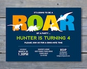 "DINOSAUR Party Invitation - Dinosaur Birthday - Personalized - 7""x5"" - Print Your Own - DIY"