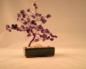 On Sale - Wire Wrapped Gemstone Tree - Happy Little Tree - Amethyst - Swarovski Crystals - Ceramic Bonsai Pot  - Home or Office