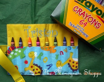 Crayon Case Roll-ups for Kids with back pocket for holding paper - FREE MONOGRAMMING