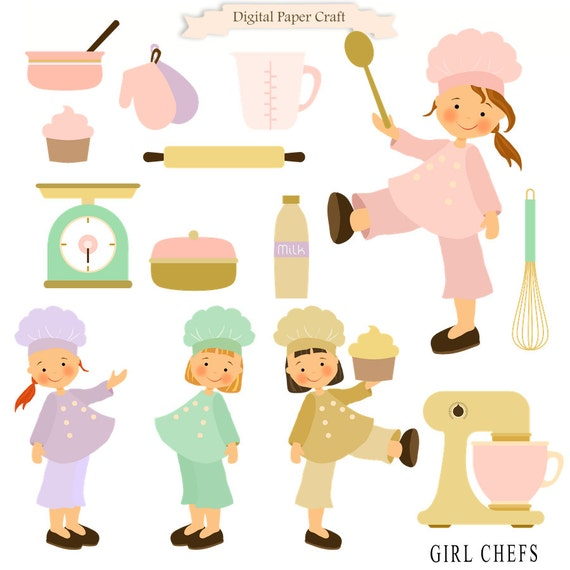 Cooking Clipart Girl clipart Chef Clipart Kitchen Clipart