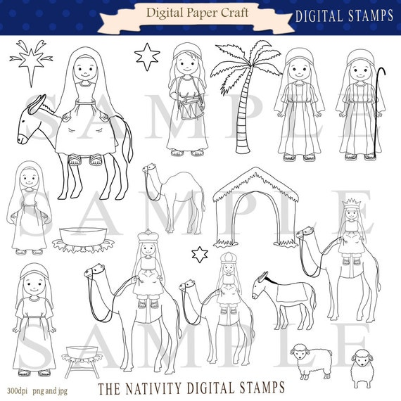 Nativity Digital stamp,  camel Stamp, Mary Stamp, Jesus Stamp, Joseph Stamp, animal Stamps, Christian Stamps, Instant download