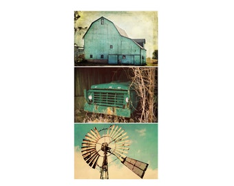 Aqua Country Photo Print Series, Rustic Farmhouse Barn Photography, Windmill Ford Truck, Turquoise Fixer Upper Style Home Decor Wall Art