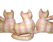 Set of three (3) - Pink Plaid Cotton Kitty Cat Window Sitters -  triplets with light pink lace collar, three little kittens