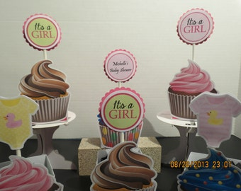 It's A Girl Cupcake Toppers (Set of 12)