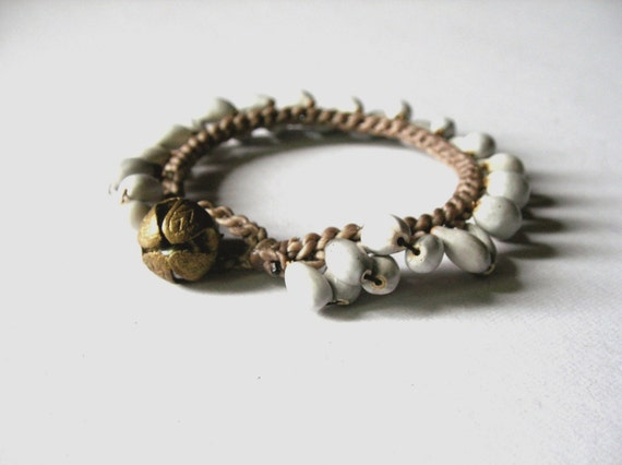 Natural Seed Bracelet, white grey brown