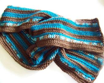 Clearance Sale: Hand Crocheted Scarf - Acrylic Yarn - Brown/Teal/Variegated