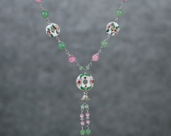 Pastel pink jade cloisonne Asian Chinese long lariat necklace Bridesmaid gifts Free US Shipping handmade Anni designs