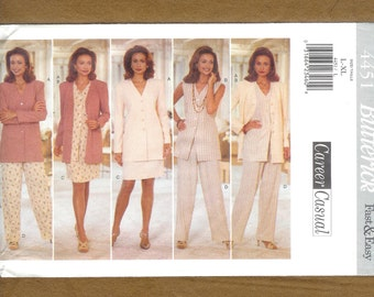 Butterick 4451 Career Casual Wardrobe Featuring, Pants, Skirt, Vest, And Button Front Top, Sizes Large, and Extra Large,   (16 to 22), UNCUT