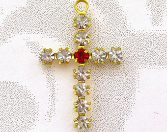Crystal Cross Charms - 3 Crystal and Ruby Crosses - prong set Austrian Crystal findings Jewelry Supplies Embellishments Charms