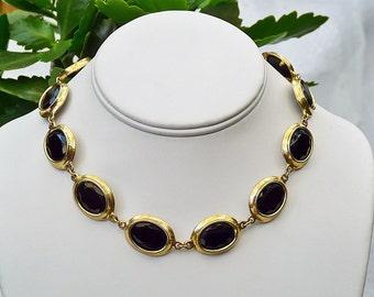 Goldette vintage faceted oval black glass stone necklace