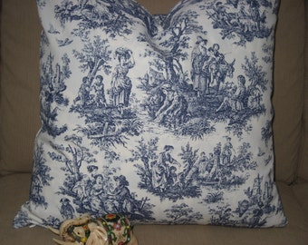 "Waverly Blue French Toile Pillow COVER - 18""x18"" - zipper - Pillow Cover(s) ONLY"