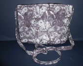 Handmade Black, grey, Horse,  pencil drawing print look,  over the shoulder / chest purse,