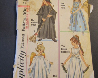 Simplicity 6201, Witch, fairy, angel, greek goddess costumes, size small 4-6
