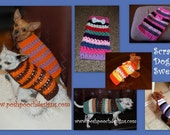 Instant Download Crochet Pattern - Scrappy Striped Dog Sweater - Small Dog SWeater 2-20 lbs