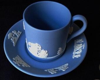 Vintage Blue Jasperware  Demitasse Cup and Saucer marked Wedgwood