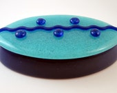 Oval Fused Glass Box in Aqua and Royal Blue