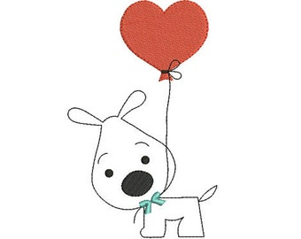 Instant download valentines day heart dog embroidery design machine