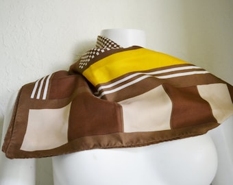 Vintage 1970's Abstract Polyester Geometric Print Scarf Brown Yellow Squares