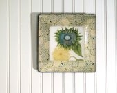 Sunflower - mothers day gift - decoupage plate - wall hanging - botanical print - sunflower art - blue and yellow decor  - blue flower
