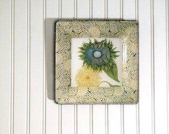 Sunflower vintage print - decoupage plate - sunflower wall hanging - botanical print - sunflower wall art - floral wall art - antique print