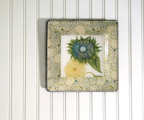 Sunflower vintage print - decoupage plate - sunflower wall hanging - botanical print - sunflower wall art - floral wall art - antique print