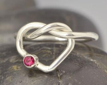 Love Knot -  Gemstone Ring - Birthstone Ring - January Birthstone - January Jewelry - Red Gemstone -Garnet Jewelry