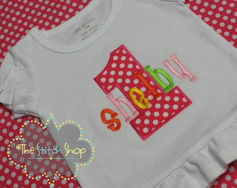 Number Applique and Monogrammed Name Birthday Shirt.