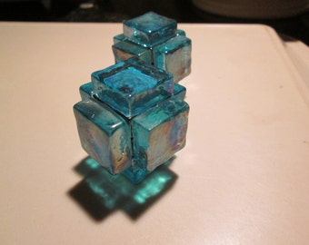 INCA TOYS  Mayan building blocks  glass PAPERWEIGHT hand made with Spanish iridescent glass original