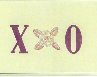 Magnolia Bloom with Hug & Kiss, Letterpress
