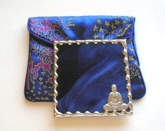 Stained Glass Purse Mirror - Pocket Mirror  - Buddha - Enlightenment  - Cobalt Blue - Blue - Handcrafted - Made in USA