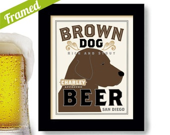 Chocolate Lab Retriever Dog Beer Art Framed Dog Art Brown Dog Art Print Personalized Dog Art Chocolate Labrador Dogs Name Art