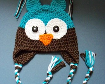 Crochet Owl Hat Baby Boy Owl Hat Toddler Hat - Made To Order