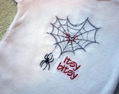 SAMPLE SALE Itsy Bitsy spider baby embroidered bodysuit newborn