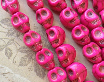 9 x 10 mm Hot Pink Colour Natural Turquoise Gem Stones Skull Beads (.mgt)