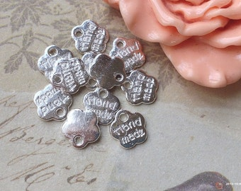 "8 mm Silver Plum Shape ""Handmade"" Charm Pendants (.mag)"