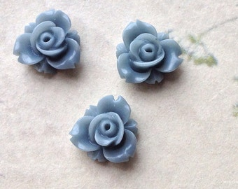 12 mm Grey Colour Resin Rose Flower Cabochons (.sm)