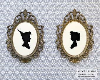 Peter Pan and Wendy Darling Handmade Paper Silhouettes